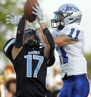 Hilliard Darby's Cole Horvath intercepts a pass in the end zone against Hilliard Bradley on Aug. 27. The Panthers visit Westerville South on Sept. 3.