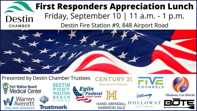 Destin Chamber Trustees honor first responders with free cookout.