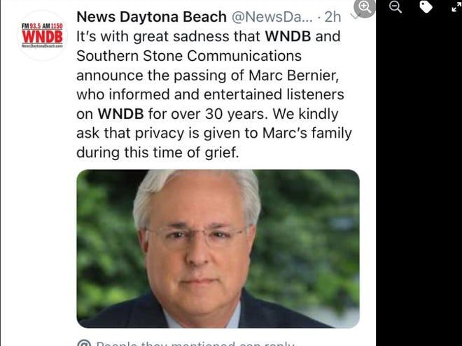 The Facebook post announcing Marc Bernier's death.