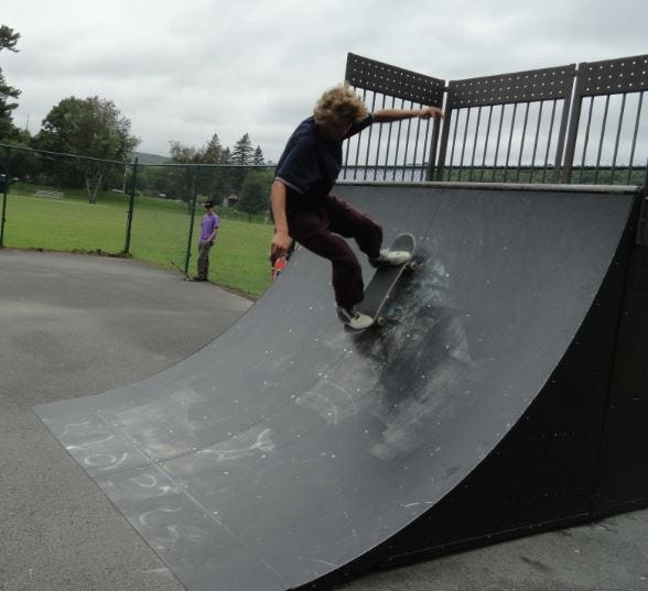 Up he goes, till gravity brings this skateboarder in Hawley back down!