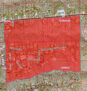 Bloomington City Council on Tuesday removed from annexation consideration the Edgewood Hills neighborhood, highlighted in red. The council also declined to remove East Heritage Woods Road, south of the highlighted area.