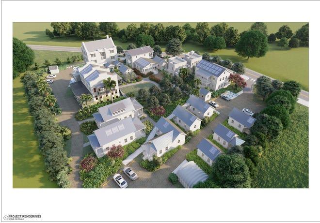 Rendering of the tentative completed New Oaks Pocket Neighborhood.