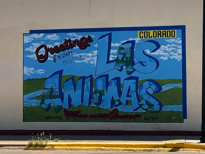 A colorful greeting card mural in Downtown Las Animas.