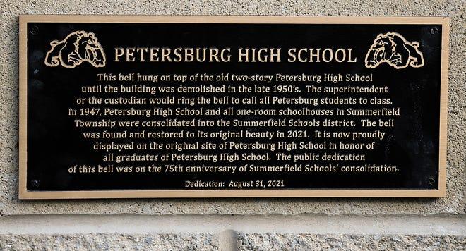 The Petersburg High School bell plaque.