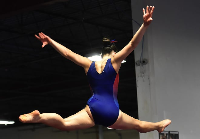 A gymnast competes during the 2019 season.