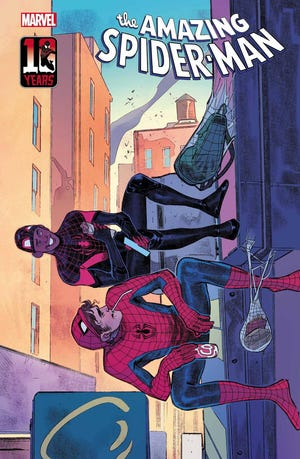 """Miles Morales and Peter Parker are featured on the Sara Pichelli variant cover of """"Amazing Spider-Man"""" #74 this month."""