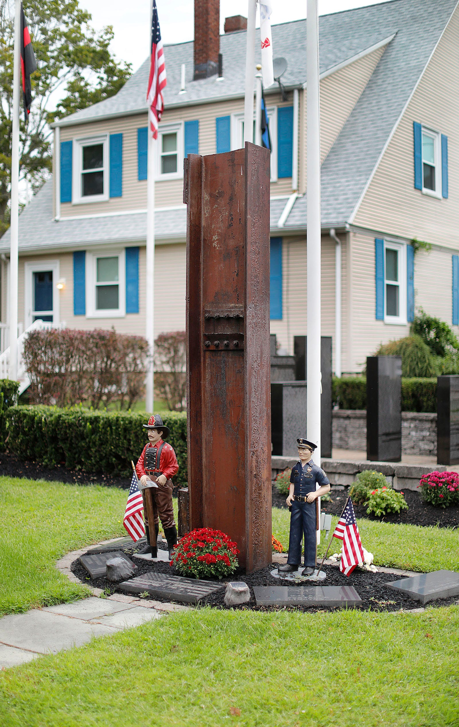 The Plymouth 9/11 memorial off of Court Street, which features a steel beam from the World Trade Center in New York.