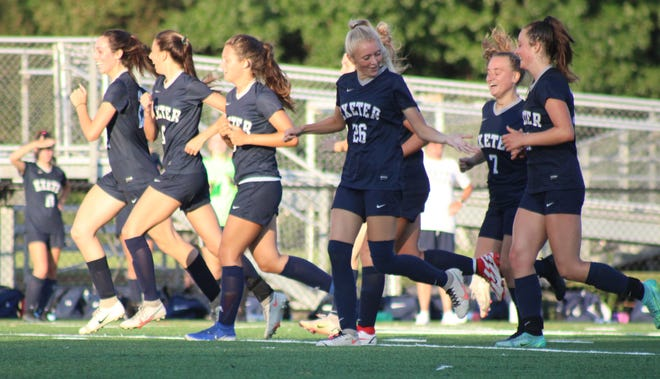 Members of the Exeter High School girls soccer team celebrate a goal during Tuesday's 4-2 win over Hanover.