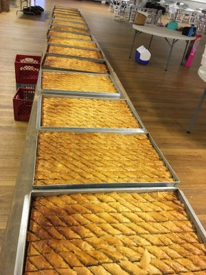 Baking is in full swing in preparation for this weekend's Dover Greek Festival, which will take place rain or shine at the Hellenic Center on Long Hill Road in Dover. Admission is free with ample parking on site.