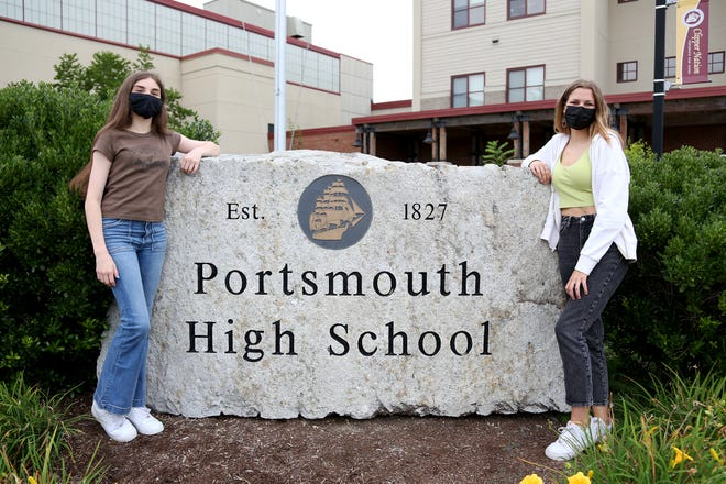 From left, Maya McKinnon, 18, and Alice Weir, 17, are reviving a mental health and wellness club at Portsmouth High School.