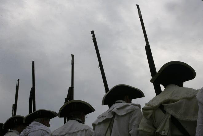 Members of the 2nd Rhode Island Regiment participate in a service honoring the Black Regiment at Patriots Park in Portsmouth in 2007.