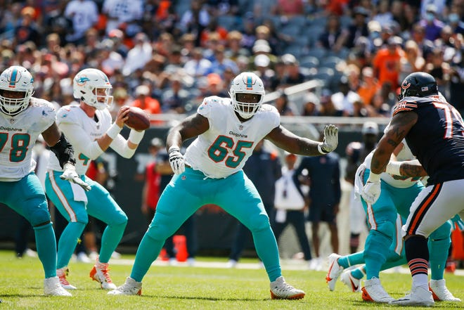 Robert Jones, No. 65, graduated from Rockford East in 2017 and has made the Miami Dolphins roster as one of their eight offensive lineman. He will be the third current Rockford player in the NFL and the first from a Rockford Public School since former Guilford star Carlos Polk retired 13 years ago.