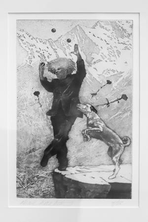 """South Bend-based artist Alan Larkin's """"The Fool,"""" an etching, is among the 145 works selected for the 2021 Hoosier Salon exhibition that will be on display from Aug. 21 to Oct. 24, 2021, at the Indiana State Museum in Indianapolis."""