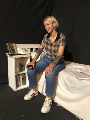 """Kimmie Staggs rehearses for the Twin City Players' production of """"Fun Home"""" that it will present Sept. 10-26, 2021, at the theater in St. Joseph."""