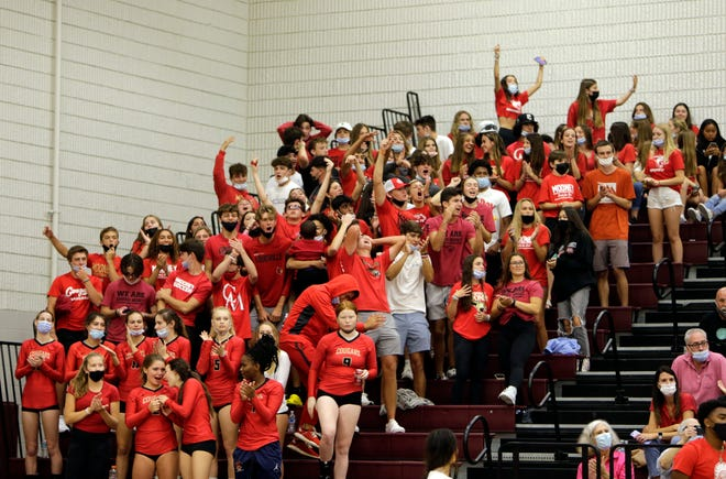 Action between Cardinal Mooney Catholic and Riverview High in a volleyball match Tuesday, Aug. 31 at Riverview High.