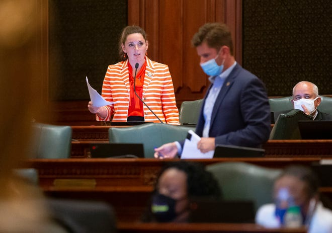 Illinois State Rep. Avery Bourne, R-Morrisonville, gives her remarks on the Illinois legislative maps proposal during debate on the floor of the Illinois House of Representatives at the Illinois State Capitol in Springfield, Ill., Tuesday, August 31, 2021. [Justin L. Fowler/The State Journal-Register]