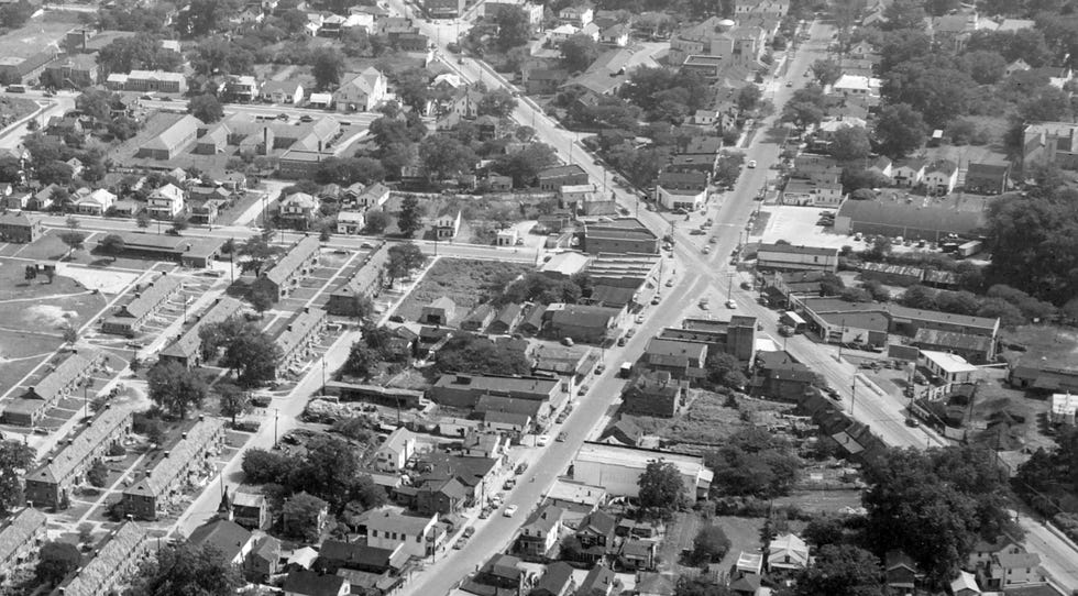 An aerial view of the Five Points area from the 1950s. In May of 2018, a Redevelopment Commission was formed to come up with a comprehensive plan to revitalize 474 acres of land in Five Points.