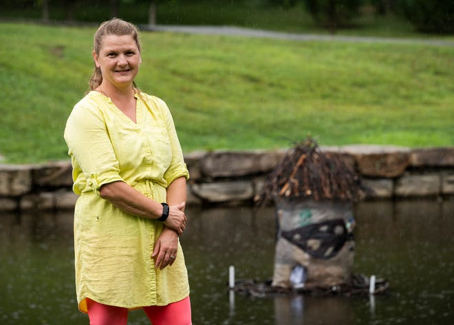 Local artist and educator Kate Egnaczak has been fishing litter out of Elm Park's ponds on a paddle board for a few years now and turning the trash into art.