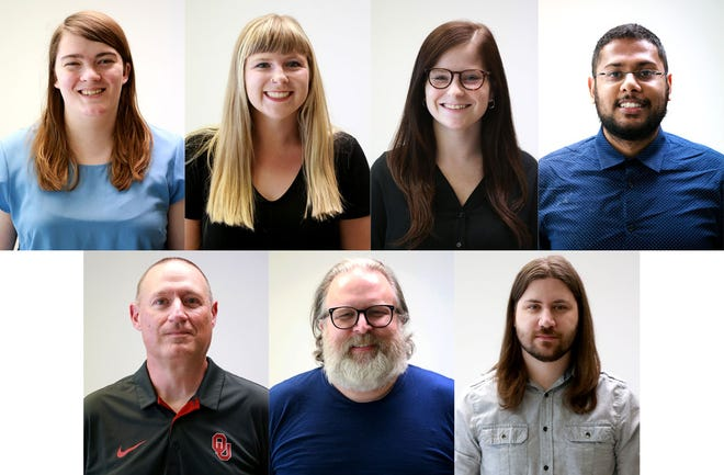 The Times Record editorial team: Top row: Catherine Nolte, Alex Gladden, Abbi Ross, Ronak Patel.  Bottom row: Buck Ringgold, Clay Mitchell, Ty Thompson
