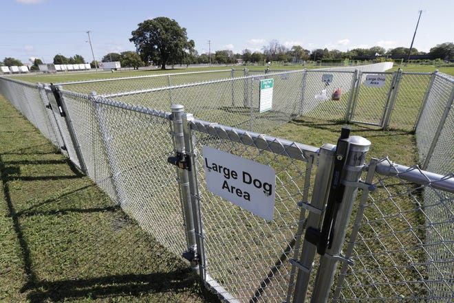 Fencing is in place for the Neenah dog park at 350 Byrd Ave. The park has separate areas for large dogs and small dogs.