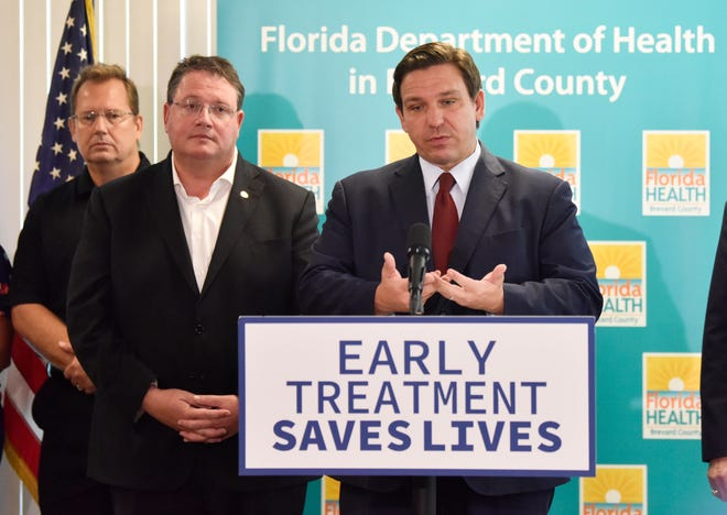 Florida Gov. Ron DeSantis held a noon press conference at the Department of Health in Viera Sept. 1, 2021, touting the success of Regerenon treatments for COVID-19.