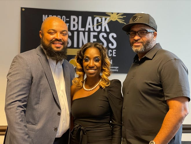 The Metro-Detroit Black Business Alliance hosted a grand opening for its new Black Business Resource Center, which is located at 1234 Washington Blvd. in Detroit. Kai Bowman, COO, Charity Dean, president and CEO and Chuck Nolan, board chair member of the Metro Detroit Black Business Alliance held a celebration Monday, August 30, 2021.