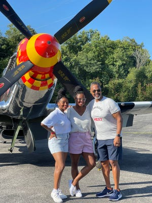 Tuskegee NEXT pilot and flight instructor Fairlyn Hurt, Young Eagle rally organizer Angela Attawia and Tuskegee NEXT chapter founder Steve Davis at the Downtown Island Airport in South Knoxville on Aug. 28, 2021.