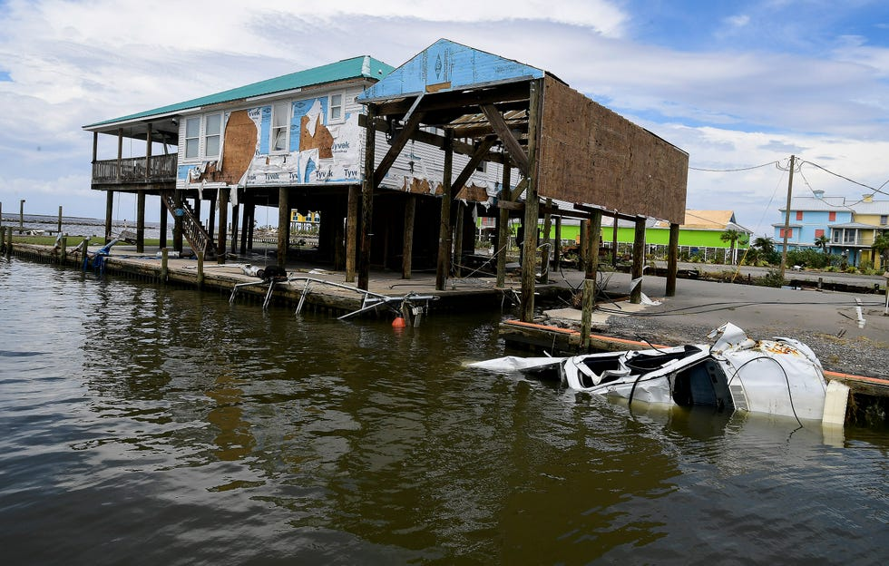 Damage from Hurricane Ida is seen at Grand Isle, La., on Tuesday August 31, 2021, after Ida came ashore there on Sunday August 29, 2021.