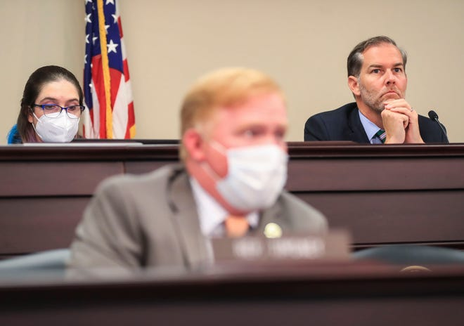 Sen. Max Wise, right, chairs the Interim Joint Committee hearing on COVID-19 and schools in Frankfort on Sept. 1, 2021.