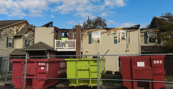 The aftermath of an Aug. 21 fire at the Arbors at Georgetown Apartments in Lansing, seen Wednesday, Sept. 1, 2021. Multiple residents have been displaced and lost their belongings.