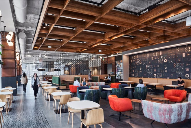 View of communal working area adjacent to food concepts at The Juke & Rail, the café at the new Amazon Nashville office, which was completed this summer.