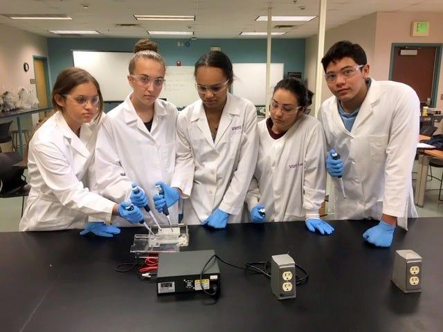 Student authors, from left, Viviana Nicoll, Lauren Paulk, Alea Darrow, Eliza Lopez, and Daniel Mendoza.