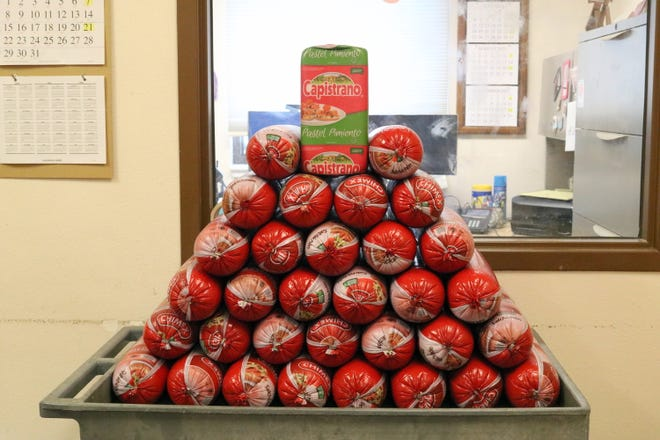 Pictured is part of the 300 pounds of pork bologna confiscated by Customs officers.