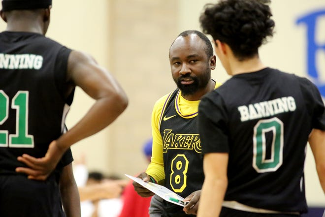 Former Banning High School basketball coach Cory Cornelius, seen here coaching against Indio in a Kobe Bryant jersey days after the former Laker passed away, has been named the new head coach at Shadow Hills High School.