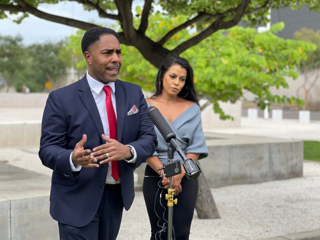 Yessenia Garcia's attorney, Benjamin Taylor, speaks to reporters on Tuesday.