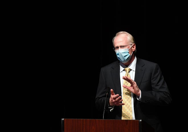 Dr. David Basel, vice president for clinical quality for Avera Medical Group, speaks during a press conference regarding the ongoing COVID-19 pandemic on Wednesday, September 1, 2021 at the Washington Pavilion in Sioux Falls.