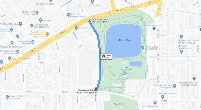 Google Maps shows the length of road along 12th Avenue S. that will be closed from Sept. 7 to mid-November.