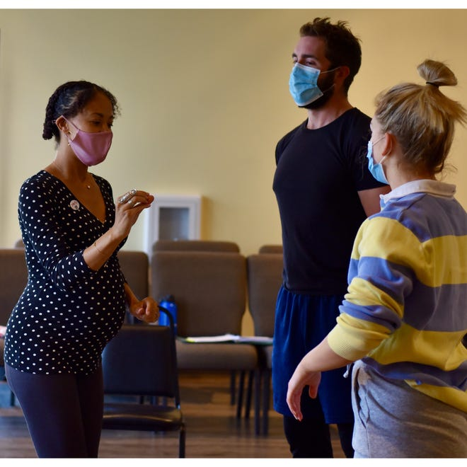 """Director Nastacia Guimont, works with Jacob Beckius (""""Orin"""")  and Mackenzie Krueger (""""Audrey"""") as they prepare for GREAT Theatre's upcoming production of """"Little Shop of Horrors."""""""