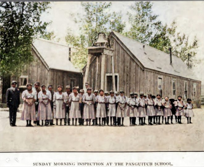 Children pose at the Panguitch Indian Boarding School, operational from 1904-1909.