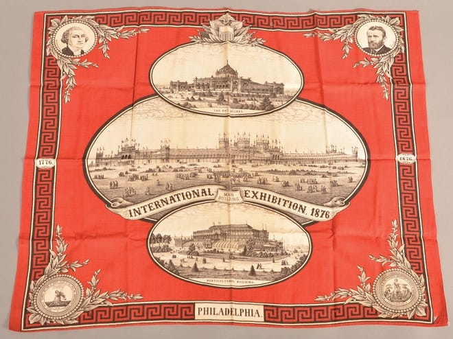 This Centennial Exhibition handkerchief with portraits of Washington and Grant and pictures of exhibition buildings is 22 inches by 28 inches and sold at Conestoga Auction Co. for $70.