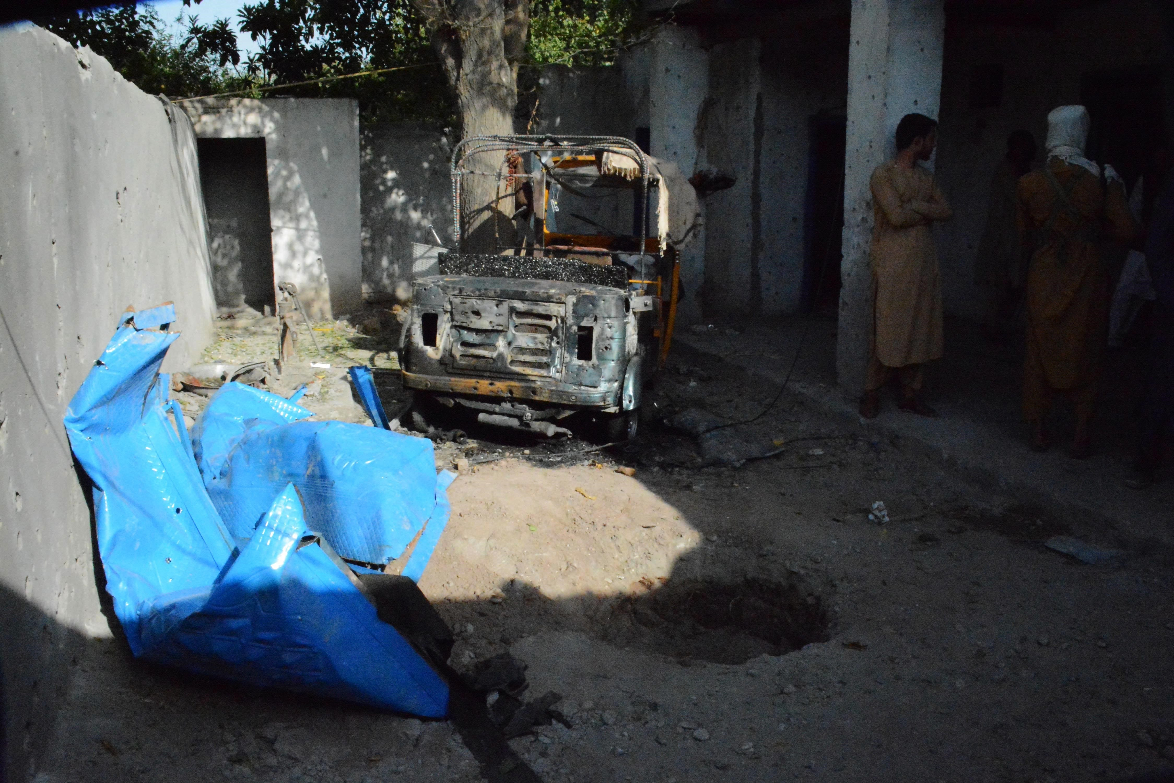 Photo taken on Aug. 28, 2021 shows the site of an airstrike conducted by the U.S. against a planner for the Islamic State in Nangarhar province, Afghanistan.