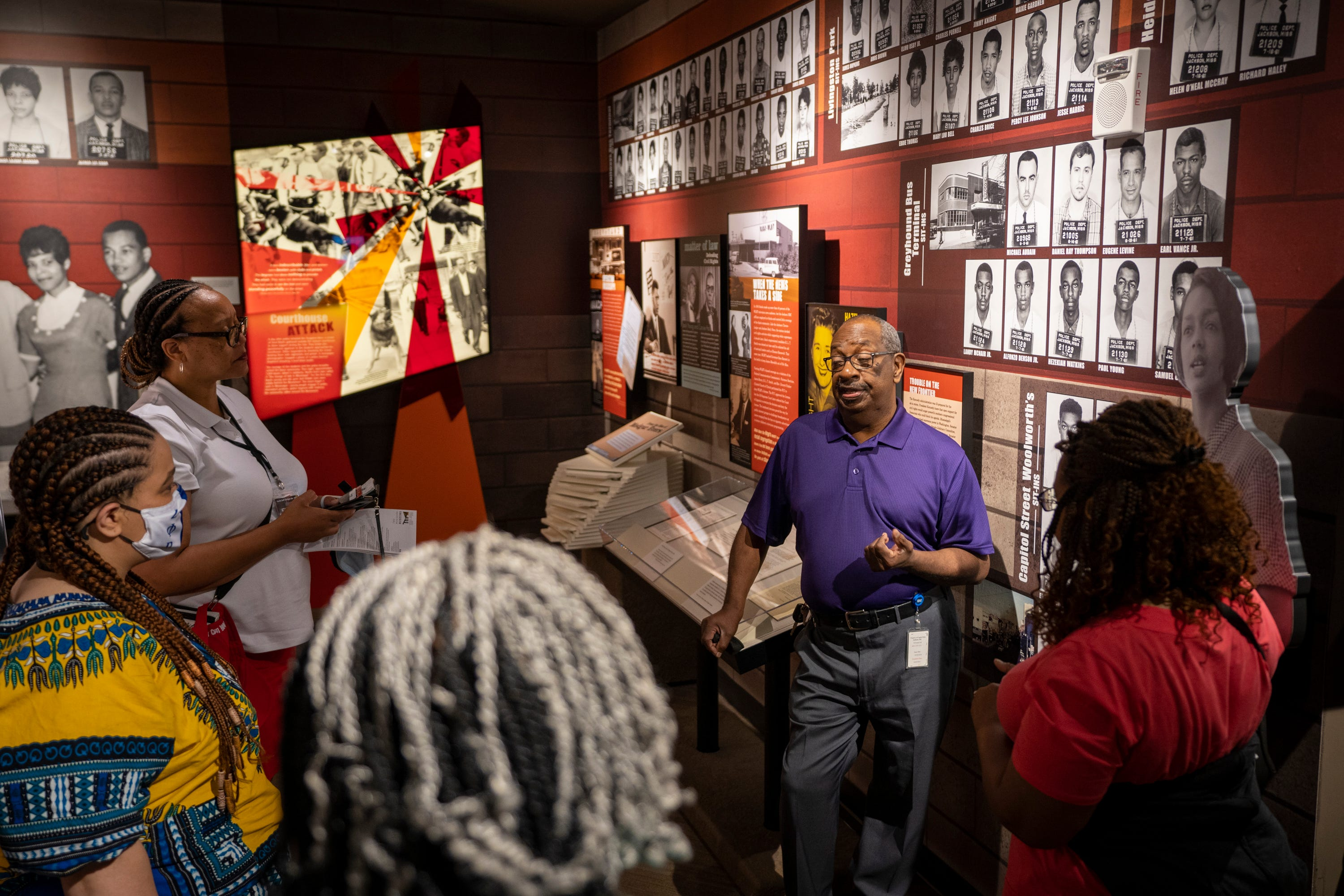 Jul 27, 2021; Jackson, Miss, USA; July 27, 2021; Jackson, Ms.; Hezekiah Watkins speaks with visitors in the Mississippi Civil Rights Museum. Watkins was arrested at the Greyhound Station in Jackson in 1961 at 13 years old, when he and a friend visited in the hopes of seeing The Freedom Riders. Since then, he has worked as a civil rights activist and has been arrested more than 100 times and seriously injured several times in civil rights efforts. Mandatory Credit: Jasper Colt-USA TODAY ORG XMIT: USAT-458441 [Via MerlinFTP Drop]