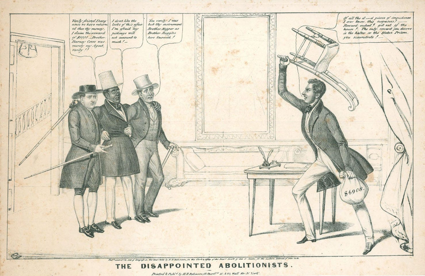 """David Ruggles is flanked by Isaac Hopper and Barney Corse in """"The Disappointed Abolitionists,"""" an 1838 illustration by Edward W. Clay. According to the owner, Richard West of Periodyssey, a used book store in Northampton, Mass., """"This is the first American cartoon to feature a recognizable Black personality, as opposed to a generic caricature."""""""