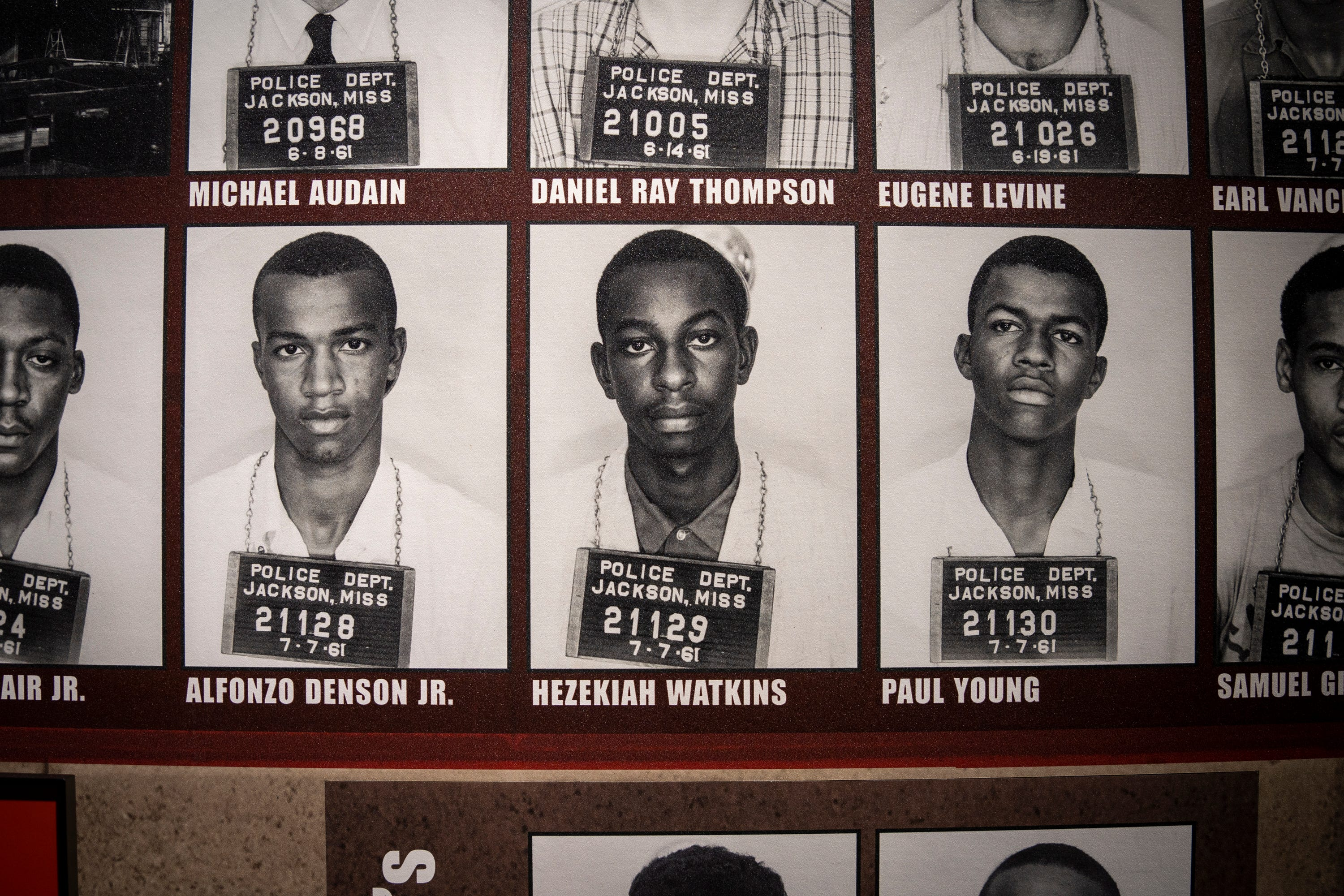 Jul 27, 2021; Jackson, Miss, USA; July 27, 2021; Jackson, Ms.; Hezekiah Watkins' mug shot is on display among those of hundreds of other civil rights activists in the Mississippi Civil Rights Museum. Watkins was arrested at the Greyhound Station in Jackson in 1961 at 13 years old, when he and a friend visited in the hopes of seeing The Freedom Riders. Since then, he has worked as a civil rights activist and has been arrested more than 100 times and seriously injured several times in civil rights efforts. Mandatory Credit: Jasper Colt-USA TODAY ORG XMIT: USAT-458441 [Via MerlinFTP Drop]