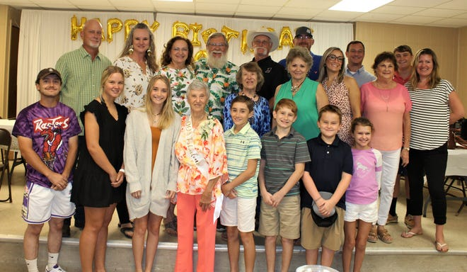 LaVerne Till ( front, center) surrounded by her children, grandchildren and great-grandchildren as she celebrated her 90th birthday on Aug. 15.