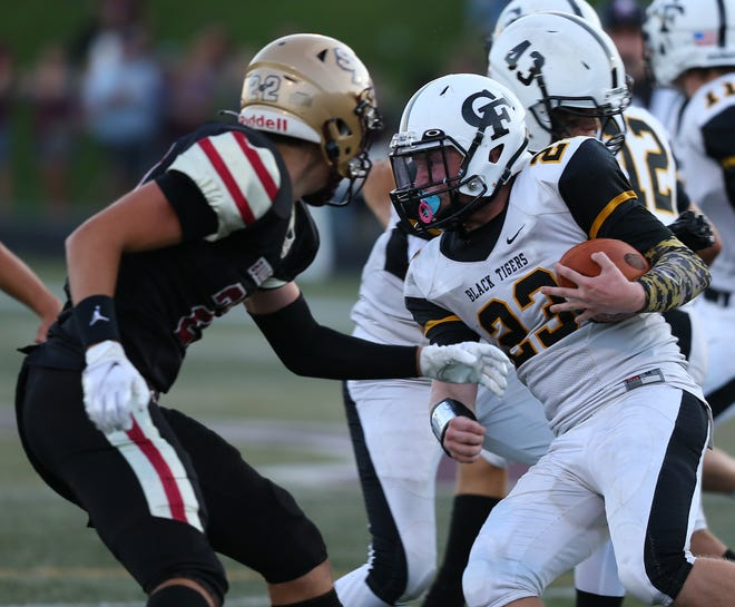 Cuyahoga Falls running back Jaydon Graffuis looks for daylight during a game against Stow-Munroe Falls in week one.