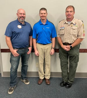 El Dorado Rotary Club President Issac McNary, left, with Scout Troop 222 Leaders David Dillner, center, and Frank Williams, left.