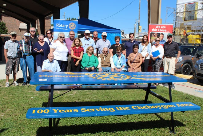 Wednesday afternoon, the Cheboygan Rotary Club presented their recently repainted picnic table to the City of Cheboygan as a gift.