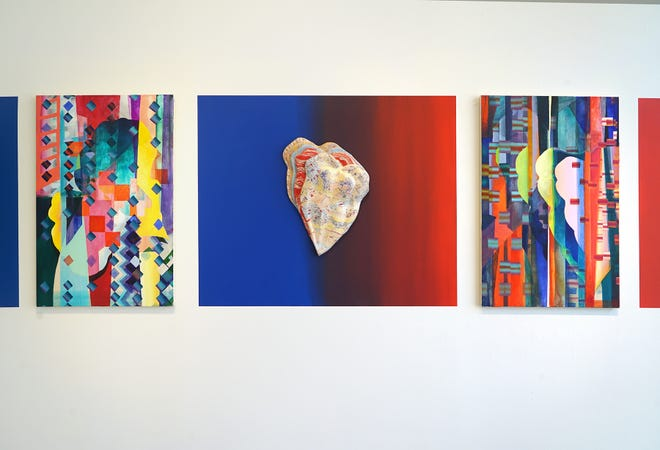 """Sculpture and paintings from the Melissa Vogley Woods exhibition """"Well seen becomes sight and song itself"""" at Hammond Harkins Galleries."""