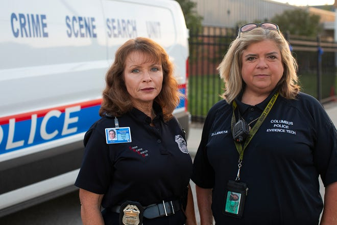 Deborah Lanata, right, works as an evidence technician, and Suzanne Nissley is a crime scene detective.